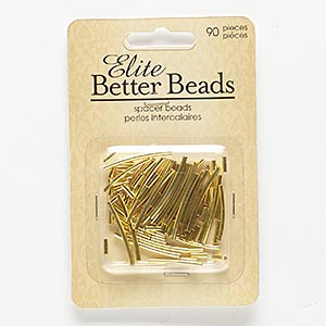 bead mix, gold-finished pewter (zinc-based alloy), 5x2mm-26x2mm round tube and curved tube. sold per pkg of 90.