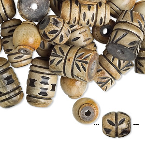 bead mix, horn (natural), 13x12mm-22x16mm mixed shape, mohs hardness 2-1/2. sold per pkg of 100.