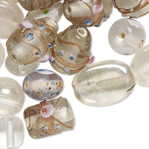 bead mix, lampworked glass, crystal and white with fancy finish, 7x4mm-14x11mm mixed shapes. sold per pkg of 100-grams, approximately 60-100 beads.