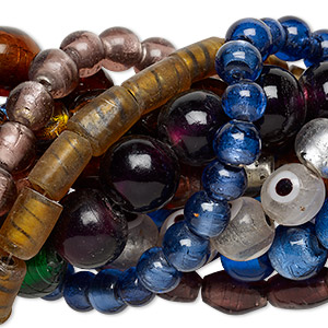 bead mix, lampworked glass, mixed colors with gold- and silver-colored foil, 9x8mm-35x35mm mixed shape. sold per pkg of (10) 16-inch strands.