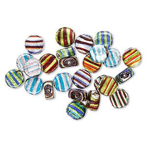 bead mix, lampworked glass, mixed opaque colors with silver-colored foil, 15mm flat round. sold per 100-gram pkg.