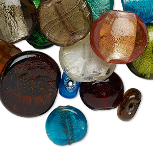 bead mix, lampworked glass, opaque to transparent mixed colors with silver-colored foil, 14-37mm flat round and puffed flat round with 1.5-9mm hole. sold per 1-pound pkg, approximately 40-60 beads.