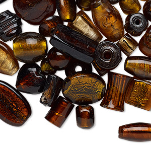 bead mix, lampworked glass, transparent honey and dark honey with silver-colored foil, 11x8mm-37x34mm mixed shape with 1.5-9mm hole. sold per 1-pound pkg, approximately 40-60 beads.
