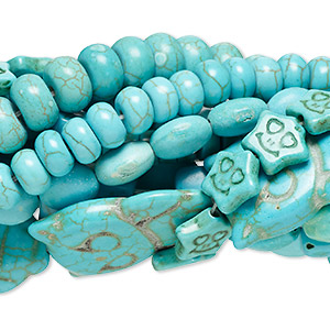 bead mix, magnesite and chalk turquoise (dyed / stabilized), blue and green, 5x3mm-21x15mm mixed shape, mohs hardness 3-1/2 to 4. sold per pkg of (10) 15-inch strands.