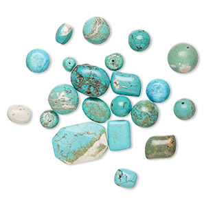 bead mix, magnesite (dyed / stabilized), 5x4mm-40x30mm mixed shape, d- grade, mohs hardness 3-1/2 to 4. sold per 1/4 pound pkg, approximately 20-40 beads.