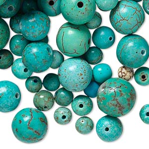 bead mix, magnesite (dyed / stabilized), blue-green, 5-10mm round, b grade, mohs hardness 3-1/2 to 4. sold per 1/2 pound pkg, approximately 450 beads.