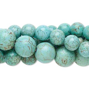 bead mix, magnesite (dyed / stabilized), blue-green and green, 5-10mm round, c- grade, mohs hardness 3-1/2 to 4. sold per pkg of (5) 16-inch strands.