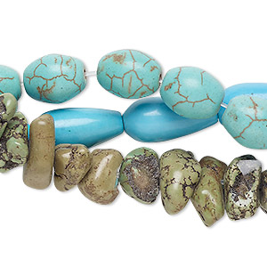 bead mix, magnesite (dyed / stabilized), mixed colors, 4x1mm-27x17mm mixed shape, mohs hardness 3-1/2 to 4. sold per pkg of (3) 6-8 inch strands.
