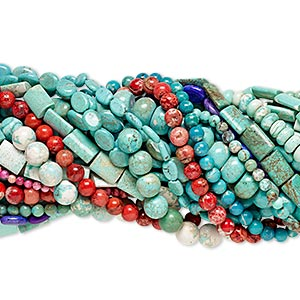 bead mix, magnesite (dyed / stabilized), mixed colors, 6mm-48x37mm mixed shape, mohs hardness 3-1/2 to 4. sold per pkg of (25) 15-inch strands.