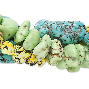 bead mix, magnesite (dyed / stabilized), mixed colors, medium to gigantic chip and mini to large nugget, mohs hardness 3-1/2 to 4. sold per pkg of (3) 15-inch strands.