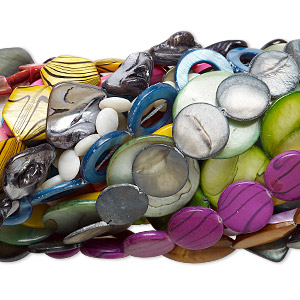 bead mix, mother-of-pearl shell (natural / bleached / dyed / coated), multicolored, 8x7mm-40mm multi-shape, mohs hardness 3-1/2. sold per pkg of (22) 15-inch strands.