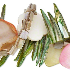 bead mix, mother-of-pearl shell (natural / bleached / dyed), multicolored, 7x6mm-40x30mm multi-shape. sold per pkg of (3) 15-inch strands.