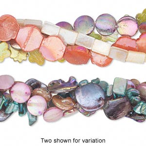 bead mix, mother-of-pearl shell (natural / dyed / coated), multicolored ab, mixed size and shape, mohs hardness 3-1/2. sold per pkg of (4) 15-inch strands.