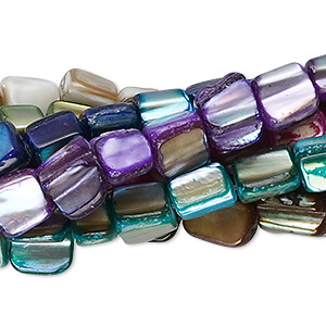 bead mix, mother-of-pearl shell (natural / dyed), multicolored, mini to medium nugget, mohs hardness 3-1/2. sold per pkg of (8) 16-inch strands.