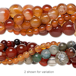 bead mix, multi-agate (natural / dyed / heated), 4-12mm round, c grade, mohs hardness 6-1/2 to 7. sold per pkg of (5) 15-inch strands.