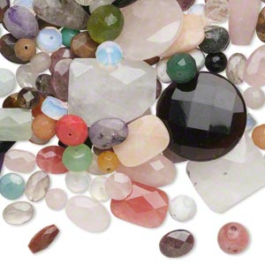 bead mix, multi-gemstone and glass (natural / dyed / stabilized / imitation), mixed colors, 10-40mm faceted mixed shape, c grade. sold per 1-pound pkg, approximately 170-200 beads.