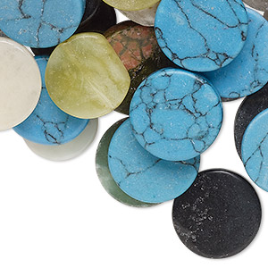 bead mix, multi-gemstone (natural / coated / dyed) and glass, mixed colors, 10-21mm flat round. sold per pkg of 100.
