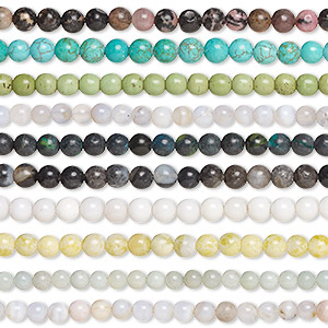 bead mix, multi-gemstone (natural / dyed / heated / imitation) and glass, multicolored, 4-6mm round, d grade. sold per pkg of (10) 15-inch strands.