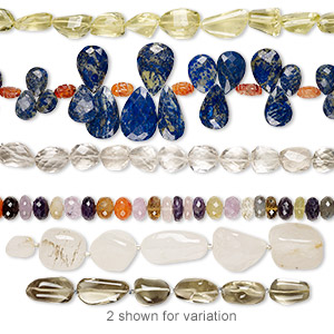 bead mix, multi-gemstone (natural / dyed / heated / irradiated / coated), mixed colors, 12x6mm-36x22mm hand-cut top- and center-drilled mixed shapes, c grade, mohs hardness 3 to 7. sold per pkg of (3) 6-inch strands.