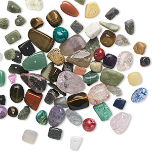 bead mix, multi-gemstone (natural / dyed / heated / manmade) and glass, mixed colors, 7x2mm-21x17mm mixed shape, d grade. sold per 1/4 pound pkg, approximately 75-90 beads.