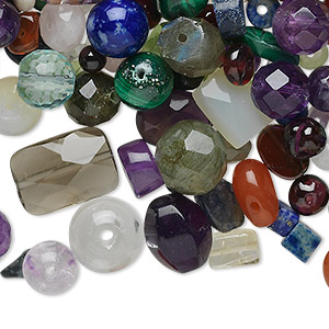 bead mix, multi-gemstone (natural / dyed / heated), mixed colors, 1mm-11x6mm mixed shape, b- grade, mohs hardness 3 to 7-1/2. sold per 1-ounce pkg, approximately 100-200 beads.
