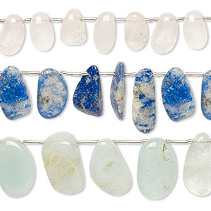 bead mix, multi-gemstone (natural / dyed / heated), multicolored, small to large hand-cut top-drilled flat nugget and tumbled nugget, mohs hardness 3 to 7. sold per pkg of (3) 14-inch strands.