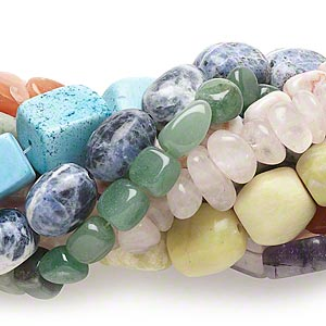 bead mix, multi-gemstone (natural / dyed / imitation / stabilized), mixed colors, large chip and mini to large nugget. sold per pkg of (10) 15-inch strands.