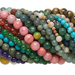 bead mix, multi-gemstone (natural / dyed / imitation) and glass, 3-15mm round. sold per pkg of (50) 15-inch strands.