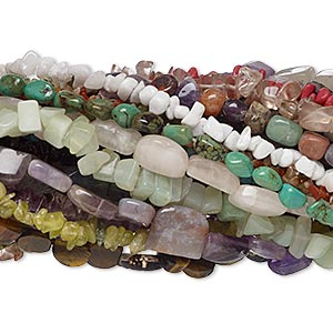 bead mix, multi-gemstone (natural / dyed / manmade) and glass, medium to gigantic chip and mini to large nugget. sold per pkg of (30) 15-inch strands.