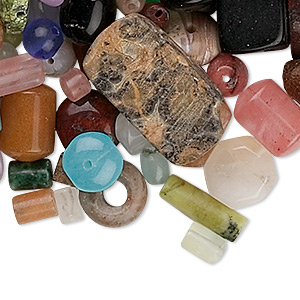 bead mix, multi-gemstone (natural / dyed / manmade) and glass, mixed colors, 4-35mm mixed shape. sold per 1/2 pound pkg, approximately 50-160 beads.