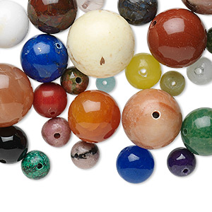bead mix, multi-gemstone (natural / dyed / manmade) and glass, mixed colors, 4-14mm round, b grade. sold per 100-gram pkg, approximately 90-100 beads.