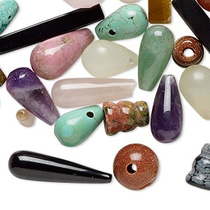 bead mix, multi-gemstone (natural / dyed / manmade) and glass, mixed colors, 9x5mm-25x13mm mixed shape, mohs hardness 3 to 7. sold per pkg of 25.