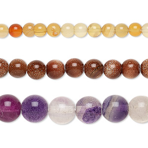 bead mix, multi-gemstone (natural / dyed / stabilized / heated / manmade / imitation) and glass, mixed colors, 4-9mm round, mohs hardness 3 to 7. sold per pkg of (3) 15-inch strands.
