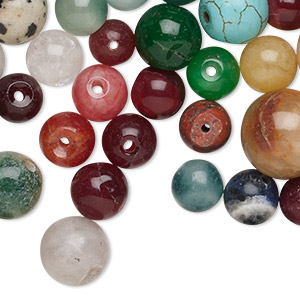 bead mix, multi-gemstone (natural / dyed / stabilized / imitation) and glass, mixed colors, 8-18mm round, c grade. sold per 1-pound pkg, approximately 340 beads.
