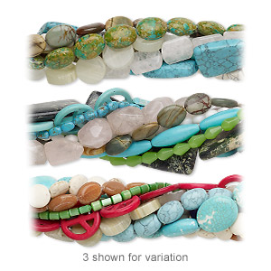 bead mix, multi-gemstone (natural / dyed / stabilized / imitation) and glass, mixed colors, 4-50mm mixed shape, mohs hardness 3 to 7. sold per pkg of (25) 8-inch strands.