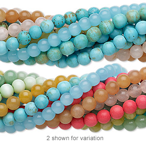 bead mix, multi-gemstone (natural / dyed / stabilized / imitation) and glass, multicolored, 7-8mm round, mohs hardness 3 to 7. sold per pkg of (25) 7-inch strands.