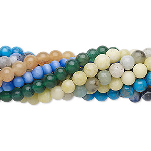 bead mix, multi-gemstone (natural / dyed / stabilized / imitation) and glass, multicolored, 3-4mm round and faceted round, mohs hardness 3 to 7. sold per pkg of (10) 7-inch strands.