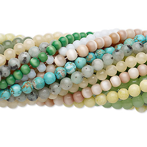 bead mix, multi-gemstone (natural / dyed / stabilized / imitation) and glass, multicolored, 5-6mm round and faceted round, mohs hardness 3 to 7. sold per pkg of (25) 7-inch strands.