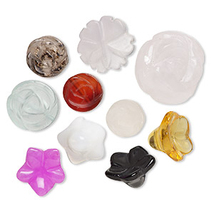 bead mix, multi-gemstone (natural / dyed) and glass, mixed colors, 10mm-39x32mm top-drilled carved flower. sold per pkg of 10.