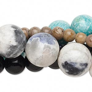 bead mix, multi-gemstone (natural / manmade / dyed) and glass, 3-16mm round. sold per pkg of (5) 15-inch strands.