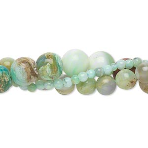 bead mix, multi-opal (natural), 2-12mm hand-cut round, d grade, mohs hardness 5 to 6-1/2. sold per three 14-inch strands.