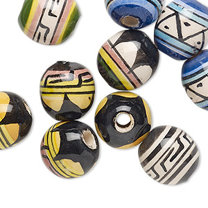 bead mix, painted ceramic, multicolored, 12mm round with geometric design, 3mm hole. sold per pkg of 10.