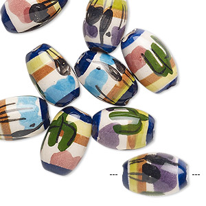 bead mix, painted ceramic, multicolored, 13x10mm-14x10mm oval with plant and animal design, 3mm hole. sold per pkg of 10.