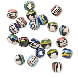 bead mix, painted ceramic, multicolored, 5mm round with geometric design, 2mm hole. sold per pkg of 20.