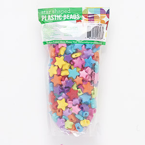 bead mix, plastic, opaque mixed colors, 12x9mm-16x4mm star. sold per 5-ounce pkg, approximately 270 beads.