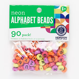 bead mix, plastic, opaque mixed neon colors, 10mm double-sided flat round with alphabet letters and heart. sold per pkg of 90.