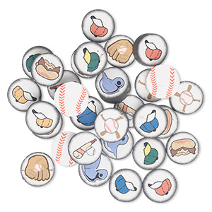 bead mix, polymer clay, black / white / multicolored, 14mm two-sided flat round with baseball designs. sold per pkg of 30.
