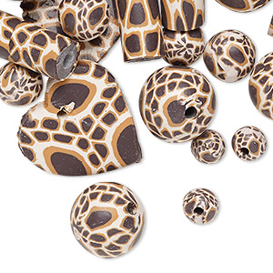 bead mix, polymer clay, dark brown / tan / cream, 5mm-22x21mm mixed shape with giraffe print. sold per pkg of 36.