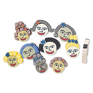 bead mix, polymer clay, multicolored, 24x17mm-31x24mm disc with womans face design. sold per pkg of 10.