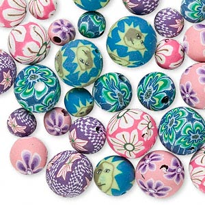 bead mix, polymer clay, multicolored, 6-10mm round with mixed designs. sold per pkg of 30.